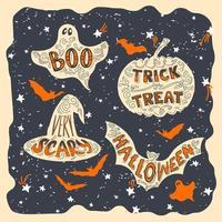 coleção de símbolos de halloween desenhado à mão