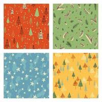 conjunto de padrão de doodle de natal