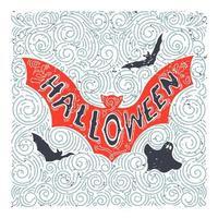 desenho de morcego de halloween desenhado à mão