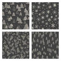 conjunto monocromático de padrão de doodle de natal vetor
