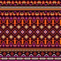 padrão de pixel étnico tribal de geometria brilhante vetor