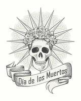pôster monocromático do dia dos mortos