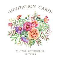 cartão de convite de flores em aquarela