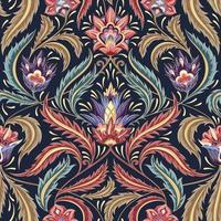 padrão decorativo floral vitoriano colorido vetor
