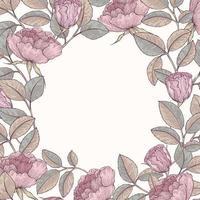 quadro de jardim de rosas desenhado à mão vetor