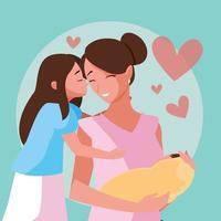 mãe com bebê fofo e menina vetor