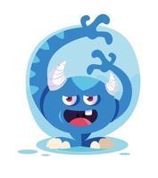 ícone de desenho de monstro azul vetor