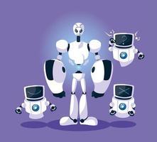 robô de tecnologia sobre fundo roxo
