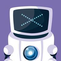 robô de tecnologia sobre fundo roxo vetor