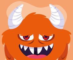 ícone de desenho de monstro laranja vetor