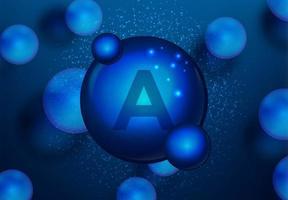 vitamina uma molécula de comprimido azul brilhante vetor