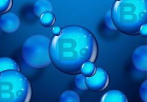 design de molécula azul brilhante de vitamina b9 vetor