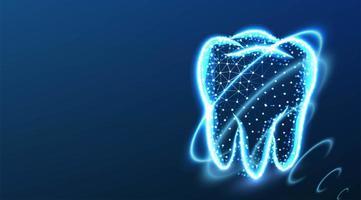 conceito abstrato de proteção dentária low poly vetor