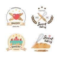 conjunto de logotipo de padaria e cupcakes vetor