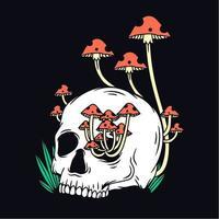 design de camiseta em forma de cogumelo crânio vetor