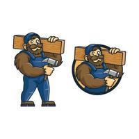 macaco mascote trabalhador de madeira de desenho animado vetor