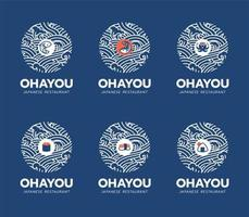 conjunto de design de logotipo e comida japonesa vetor