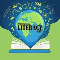 pôster do dia internacional da alfabetização com livro aberto e globo vetor