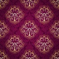 padrão damasco roxo e dourado sem costura