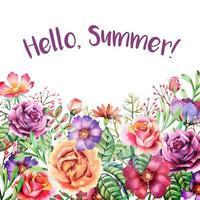 cartão de borda colorida em aquarela de flores de verão