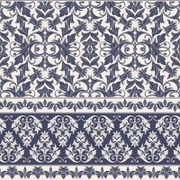 vintage azul padrão sem emenda de damasco vetor