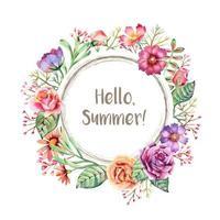 aquarela moldura de flores de verão