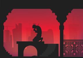O homem de Qatar Pray Illustration vetor