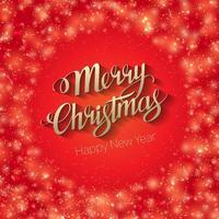 cartão vermelho brilhante com letras de feliz natal