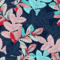 padrão sem emenda de ramo azul e rosa brilhante vetor