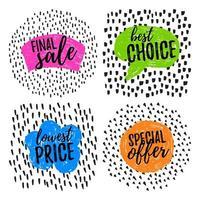 etiquetas de venda de doodle de ponto colorido vetor