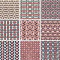 conjunto de padrão vintage geométrico colorido