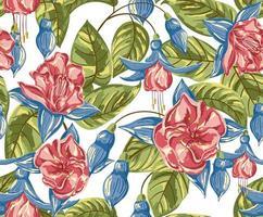 aquarela sem costura padrão de flor vermelha e azul vetor