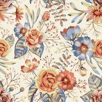 flores em aquarela padrão sem emenda vetor