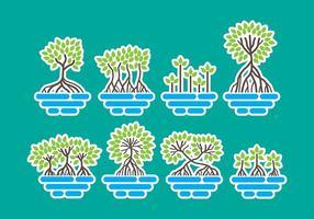 Ícones de manguezais vetor