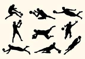 Silhuetas do Set Of Goal Keeper vetor