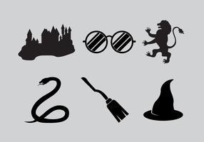 Ícones de Hogwarts vetor