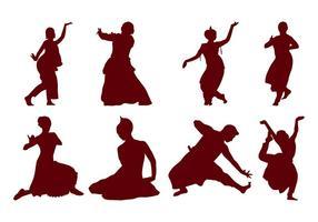 Vetor de silhueta da dança indiana grátis
