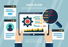 Elementos vetoriais de dados digitais planos gratuitos vetor