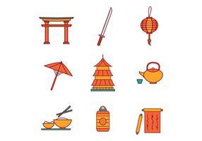 Vetor japonês de ícones grátis