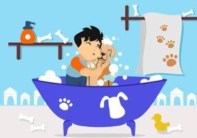 Garoto grátis lavando seu vetor de cachorro