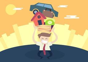Homem empurrando o vetor da ilustração do estresse