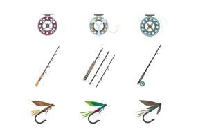 Vetor de ferramentas de pesca com mosca