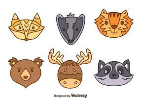 Jogo de vetores de animais florestais desenhados à mão