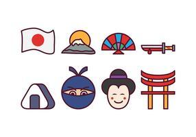 Conjunto de ícones japonês gratuito vetor