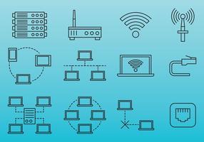 Ícones de linha da rede de internet vetor