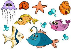 Vetores de peixe fofos grátis