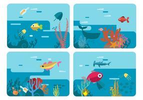 Ilustração do vetor do mundo subaquático da vida marinha livre
