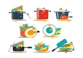 Vetores de pratos sujos