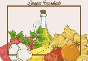 Ingredientes do vetor de lasanha