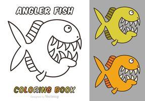 Livre Desenho Animado de Cartoon Angler Fish Coloring Book vetor